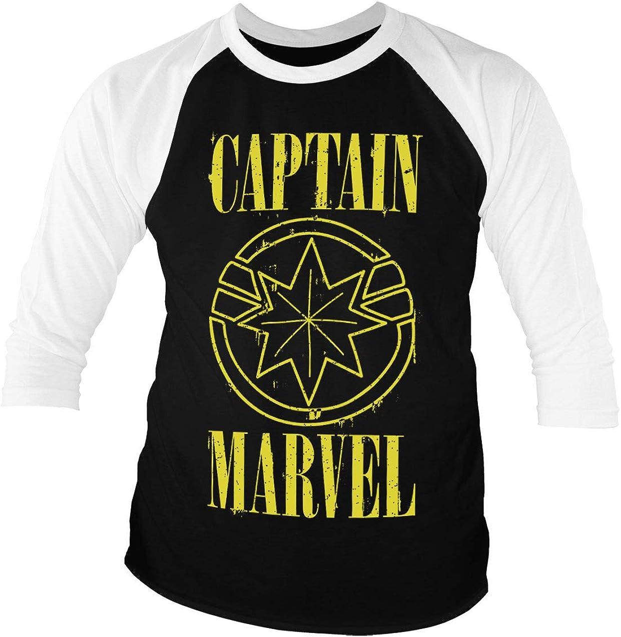 Camiseta Oficial del Capitán Marvel, Logo Grunge Amarillo de béisbol, Manga 3/4 Negro Negro (M: Amazon.es: Ropa y accesorios