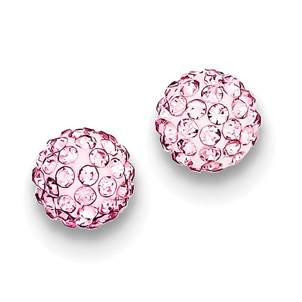 Lex /& Lu Sterling Silver 8mm Pink Czech Crystal Post Earrings