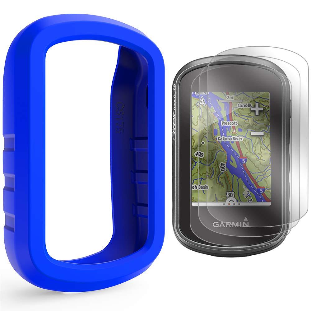TUSITA Cas avec Protection d'écran pour Garmin eTrex Touch 25 35 35t - Housse de Protection en Silicone Peau - Navigateur GPS Portable Accessoires