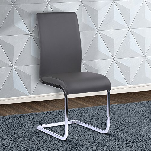 Armen Living LCAMSIGR Amanda Dining Chair Set of 2 in Grey Faux Leather and Chrome Finish