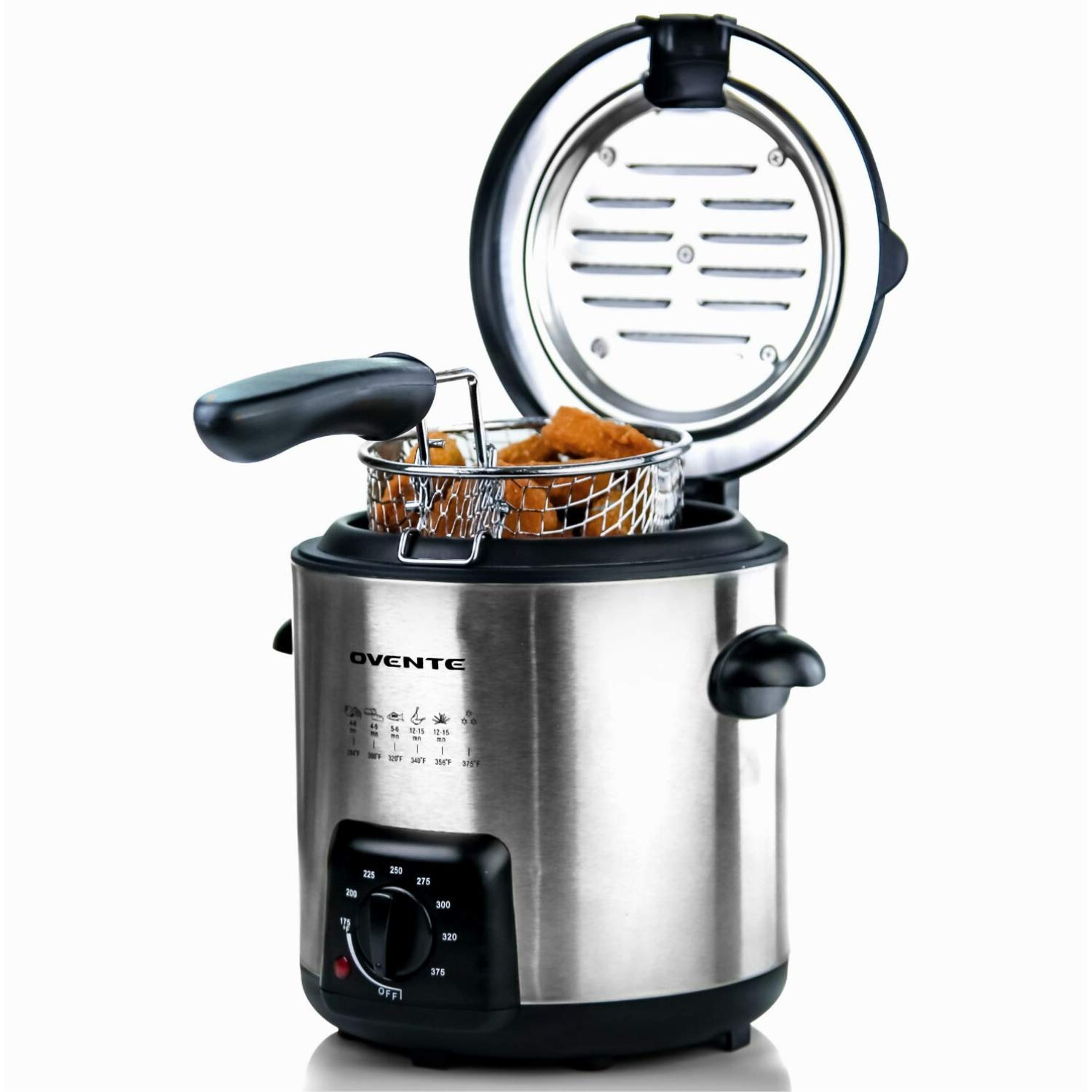 Ovente FDM1091BR Mini Deep Fryer with Removable Basket, 0.9L, Stainless Steel, Adjustable Temperature Control, Non-Stick Interior, Personal Size, Nickel Brushed by Ovente