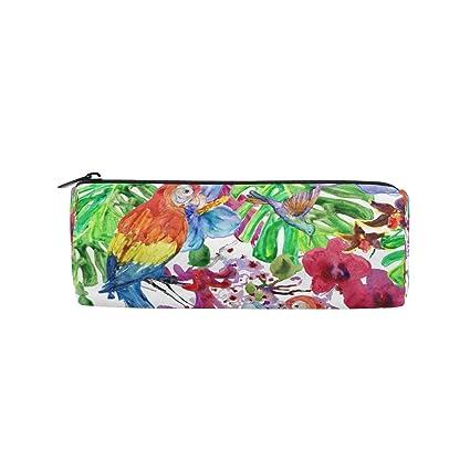 Malpleda - Estuche redondo para lápices de colibrí y loros: Amazon.es: Oficina y papelería