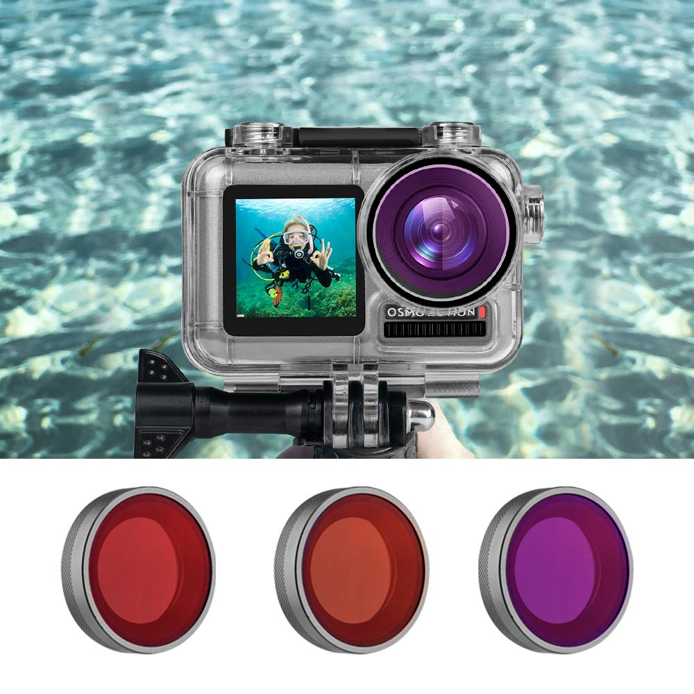 TELESIN 3-Pack Lens Filter Kit for DJI Osmo Action Waterproof Housing Protective Case, Underwater Snorkeling Diving Photography Accessories (Scuba Dive Filter Red, Light Red, Magenta) by TELESIN