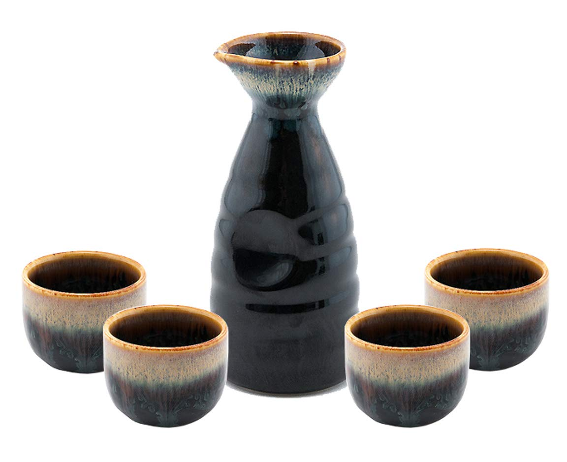 Happy Sales HSSS-WFLBLK, Perfect 5 pc Japanese Design Ceramic Sake set, Waterfall