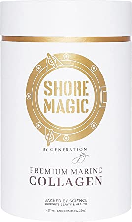 Shore Magic Marine Collagen, Hydrolyzed Marine Collagen Powder, Sustainably Sourced Wild Fish Skin Collagen, Odorless & Unflavored - 4 Month Supply, 1200g Container (for The Price of 3 Months)
