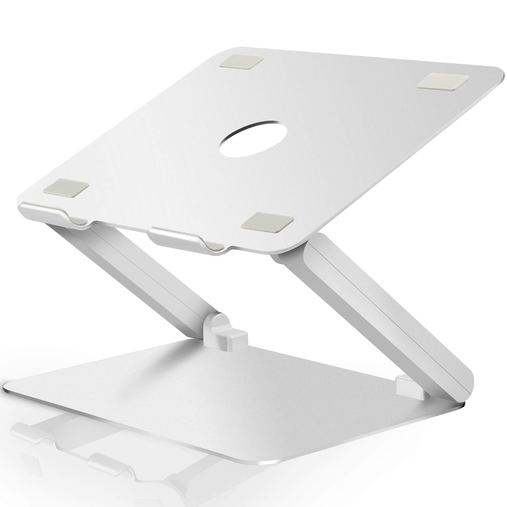 Soundance Laptop Stand Adjustable Riser Compatible with Apple Mac MacBook Pro Air, Ergonomic Aluminum Holder for 10-17.3 Inch Notebook Computer, Multi-Angle Stand with Heat-Vent to Elevate PC, Silver by Soundance