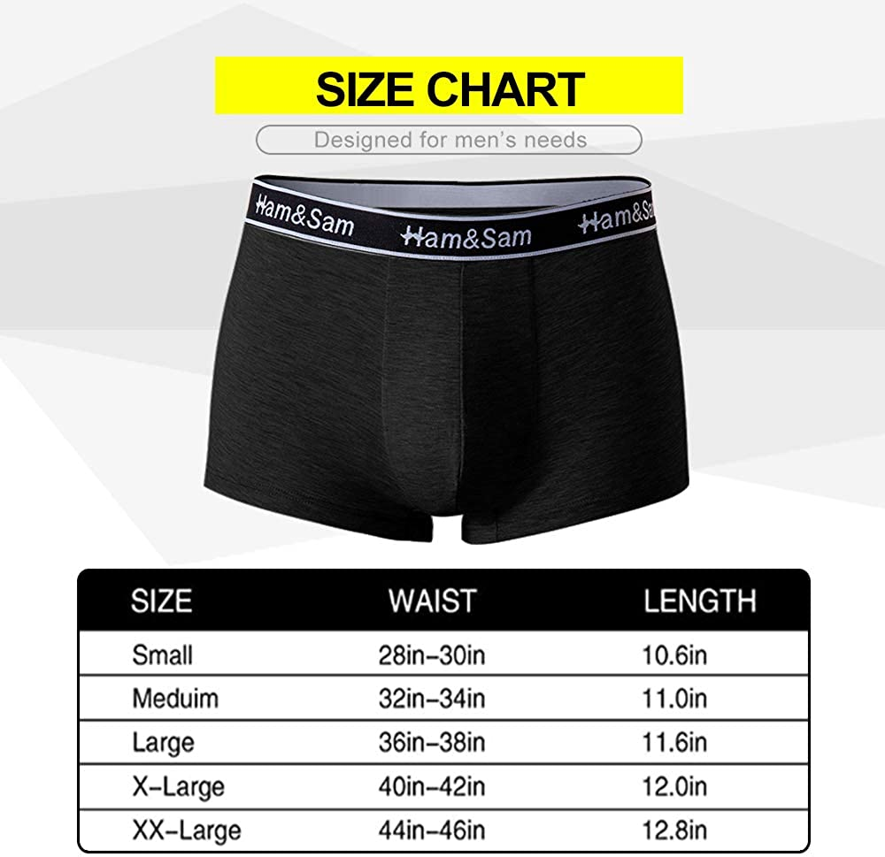Ham&Sam Mens Underwear Classic Trunks short leg Boxer Briefs Bamboo Soft comfortable underwear with pouch 5 pack at  Men's Clothing store