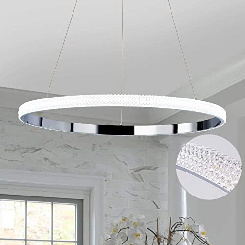 Helych Modern Pendant Lighting LED Chandelier Not Dimmable 1 Ring Acrylic