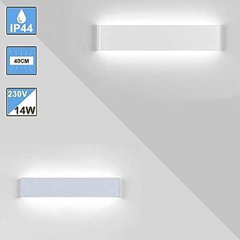 Kambo Aplique Pared Interior LED Lámpara 14W 2 Pack IP44 Impermeable Blanco Frío 6000K 952lm 40CM AC85-265V Decoración para Salon Pasillo Escalera Dormitorio Baño: Amazon.es: Iluminación