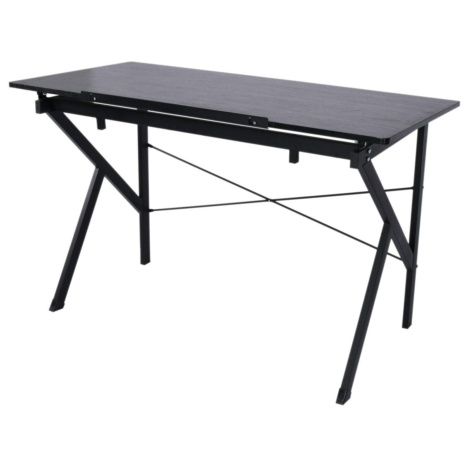 Black Art & Craft Drawing Table Drafting Desk 6 Level Adjustable Angle Spacious Tabletop MDF Board Steel Frame Construction Ideal for Drawing Painting Study Reading Writing Studio Architect Work by Auténtico