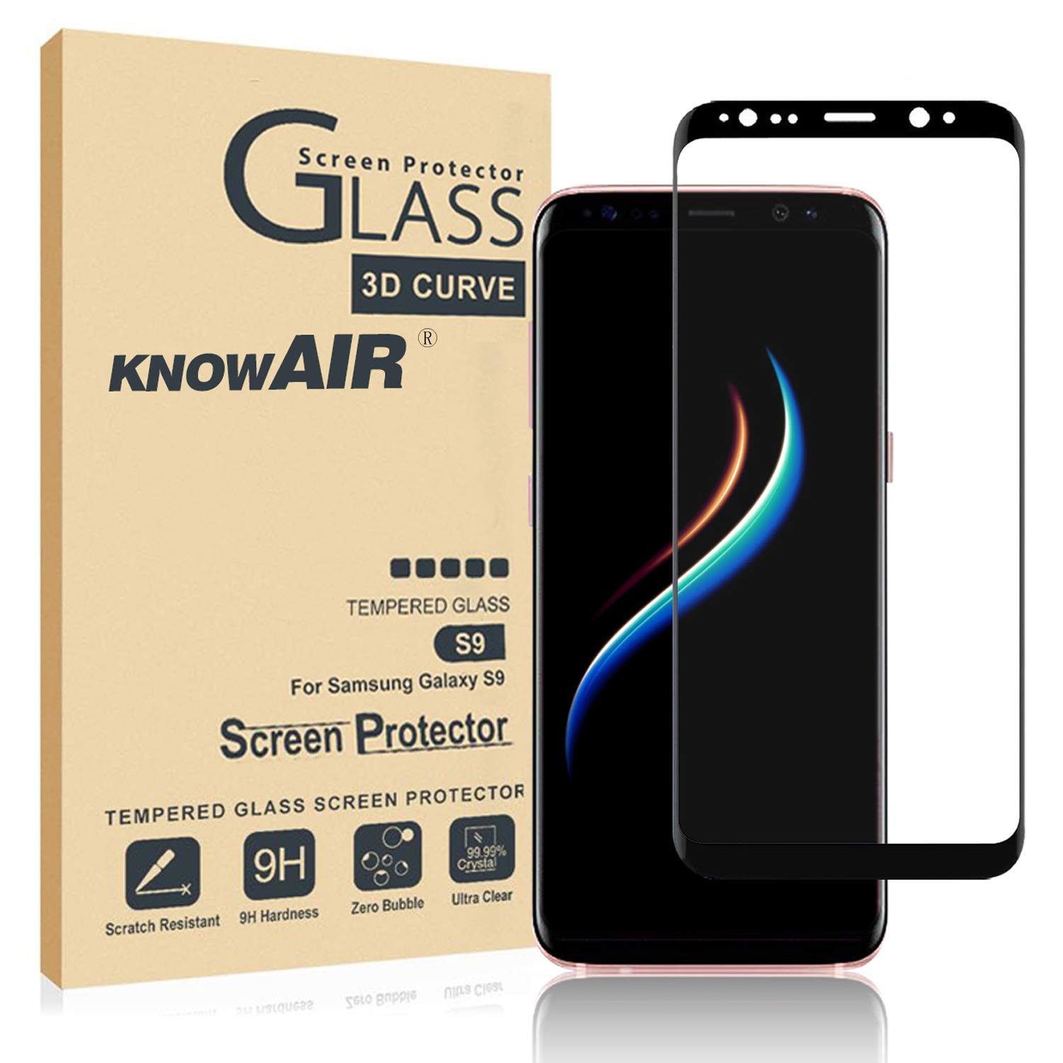 [2 Pack] Galaxy S9 Screen Protector Tempered Glass, [Update Version] 3D Curved Dot Matrix [Full Screen Coverage] Glass Screen Protector [Case Friendly] by Aifuyada