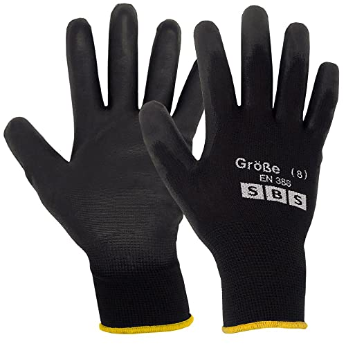 12 pairs SBS work gloves black size 8 M assembly gloves – nylon gloves