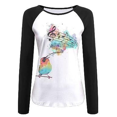 Dongweina Bird Is Singing Songs Women s Color Block Long Sleeve T-Shirts  Round Neck Causal 5b9006b6cf47