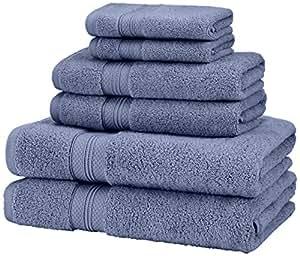Pinzon Low Twist Pima Cotton 650-Gram 6-Piece Towel Set, Royal Blue
