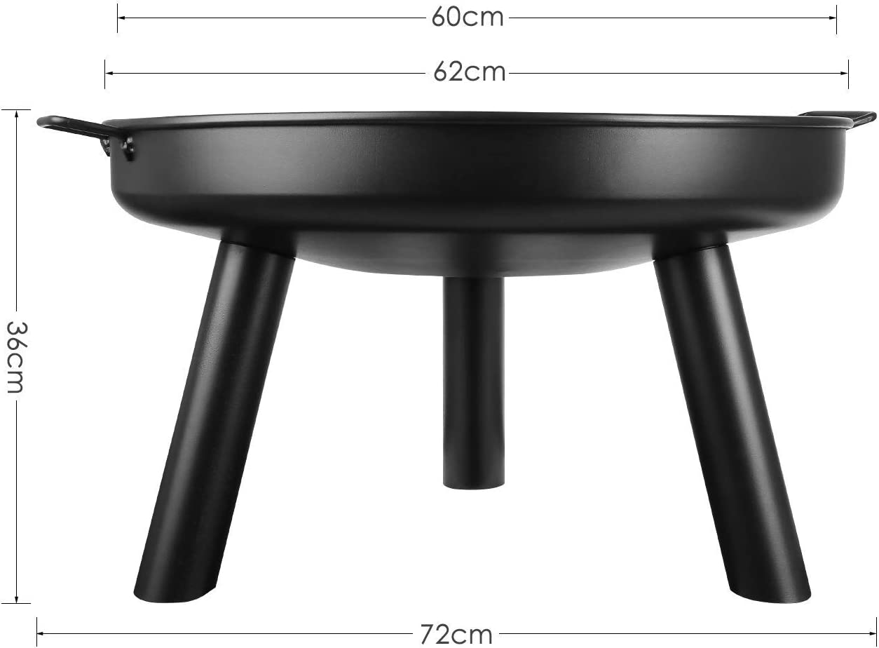 Patio Garden Multifunctional Fire Pit for Heating//BBQ with Small Device to Install femor Fire Bowl Diameter 60 cm with Handles,Removable Metal Fire Basket with Fire Fork