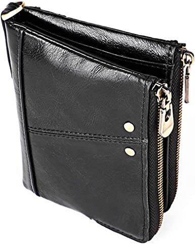 Men's Wallet RFID Protection Hi Capacity Oil Wax Genuine Leather Card Holder