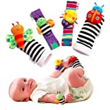 Baby Rattle Wrist Rattle Foot Finder Socks Set, Cute Animal Soft Cotton and Plush Stuffed Newborn Infant Toddler Toys-Shower  Baby Girls & Boys-Fun Butterflies and Ladybugs- 4 pcs