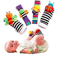Baby Rattle Wrist Rattle Foot Finder Socks Set, Cute Animal Soft Cotton and Plush Stuffed Newborn Infant Toddler Toys…