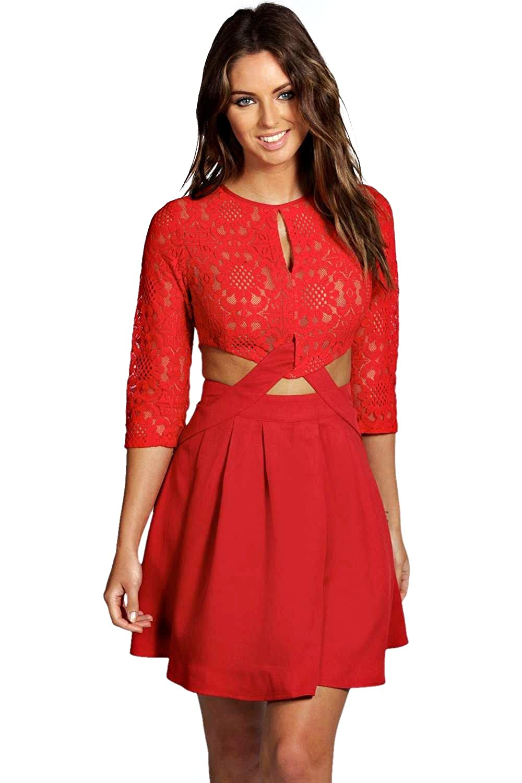 Red Womens Shea Lace Cutout Side Skater Dress
