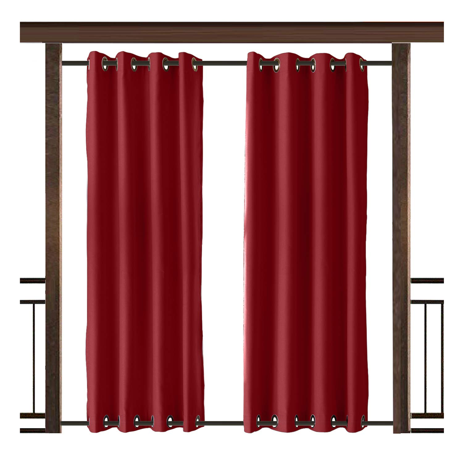 TWOPAGES Outdoor Curtain Rustproof Grommet Waterproof Drape(Both Top and Bottom) Red 120'' W x 84'' L for Front Porch, Pergola, Cabana, Covered Patio, Gazebo, Dock, and Beach Home (1 Panel).