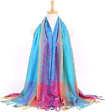TALLA 200*70cm. AiNaMei Señoras otoño e invierno cálido sarga bufanda de flores de algodón