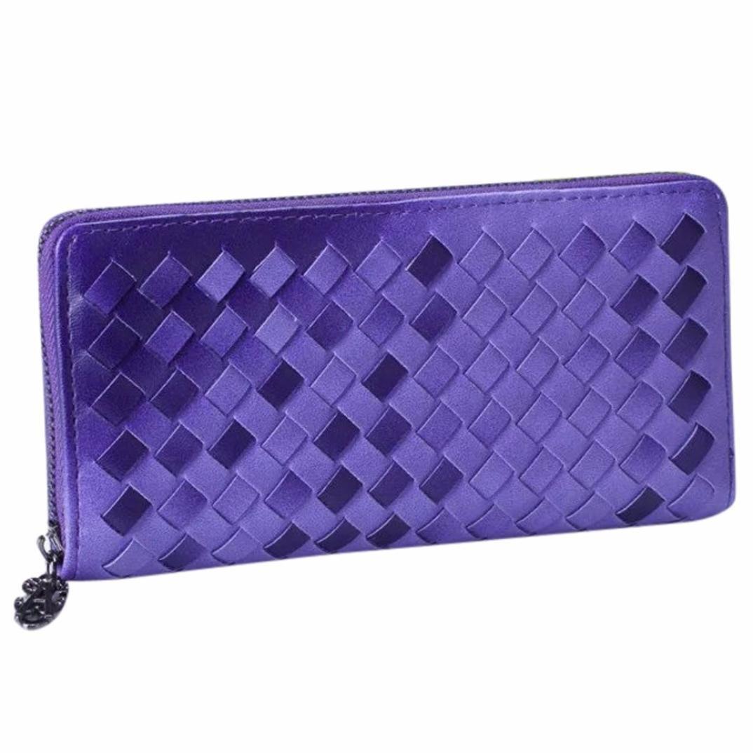 gbsellファッションレディース用カラフルな織りコイン財布ロング財布カードホルダーハンドバッグ  パープル B01FQLRYII