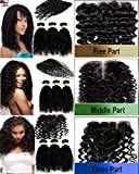 """#1 Best Seller virgin Remy JERRY CURL 3 Bundle Pack Natural Black Color #1B -20""""22""""22"""" GREAT DEAL with 16"""" THREE PART LACECLOSURE Weave Extensions Combination Set 100% Human Hair GUARANTEED offers"""