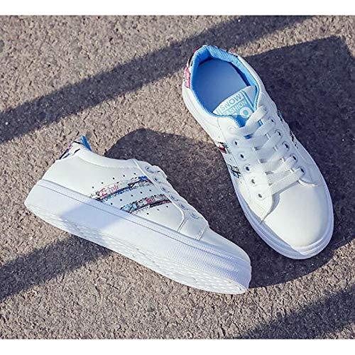 ZHZNVX Zapatos de Mujer PU (Poliuretano) Fall Comfort Sneakers Flat Heel Black/Blue / Pink Blue