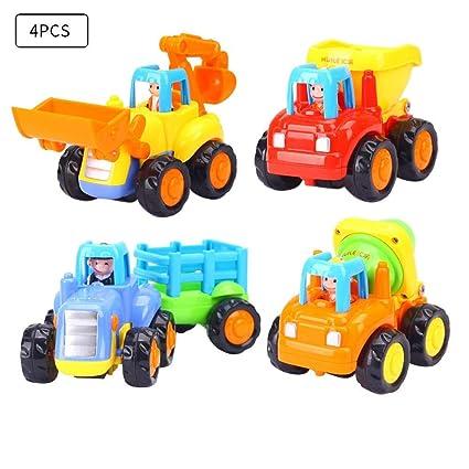 myonly Juego de 4 Camión de cemento para camiones Push And Go Camión volquete Bulldozer Tractor agrícola ...