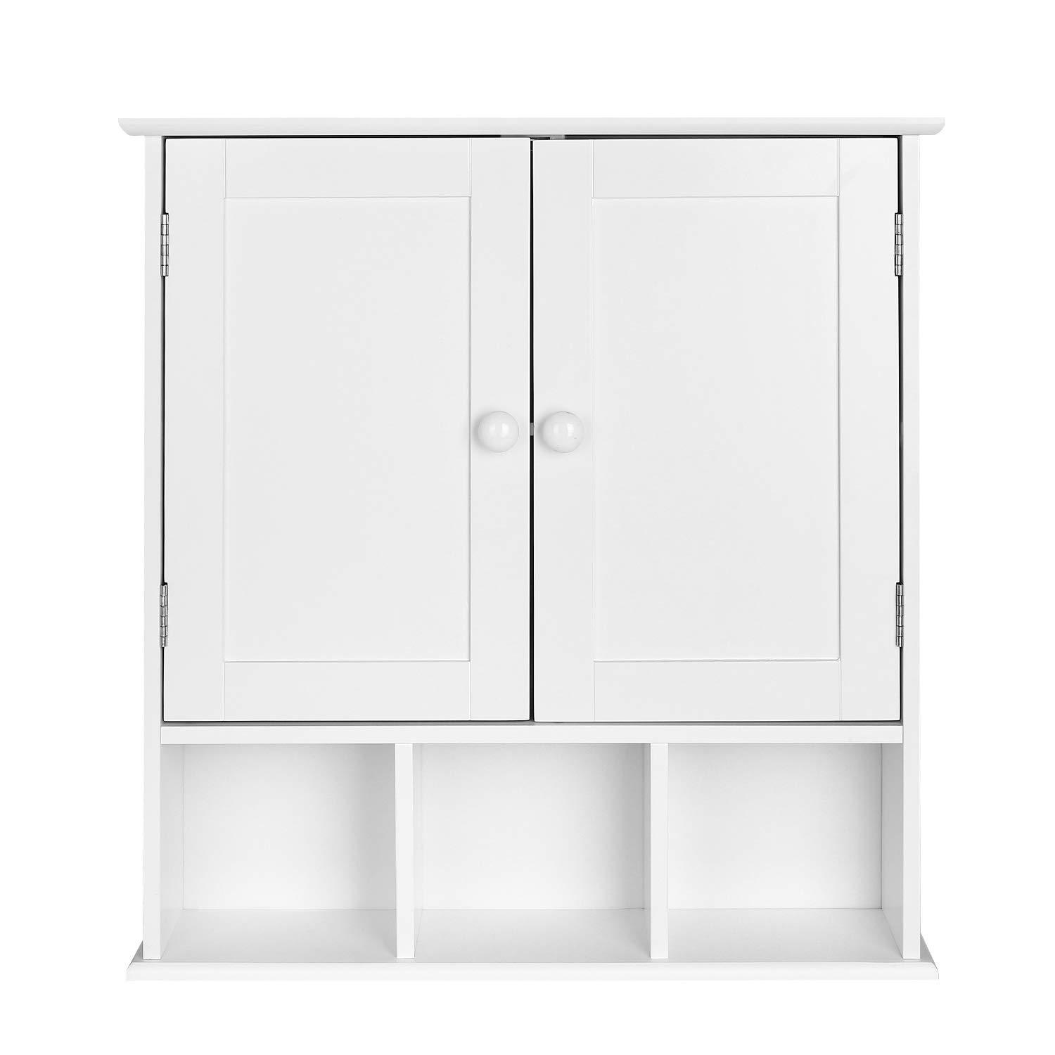 Homfa Wall Bathroom Cabinet Storage Cupboard Pastoral Wooden Storage Unit with 2 Doors and 3 Compartments White HF