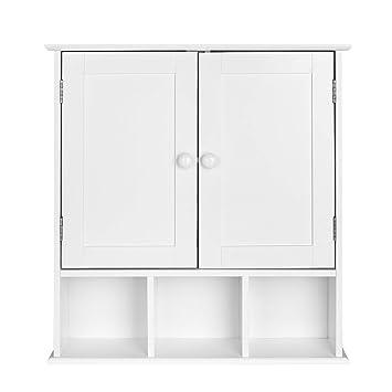 Homfa Armario de Pared Armario para Cocina Baño con 2 Puertas 5 Compartimentos Blanco 56x13x58cm: Amazon.es: Hogar