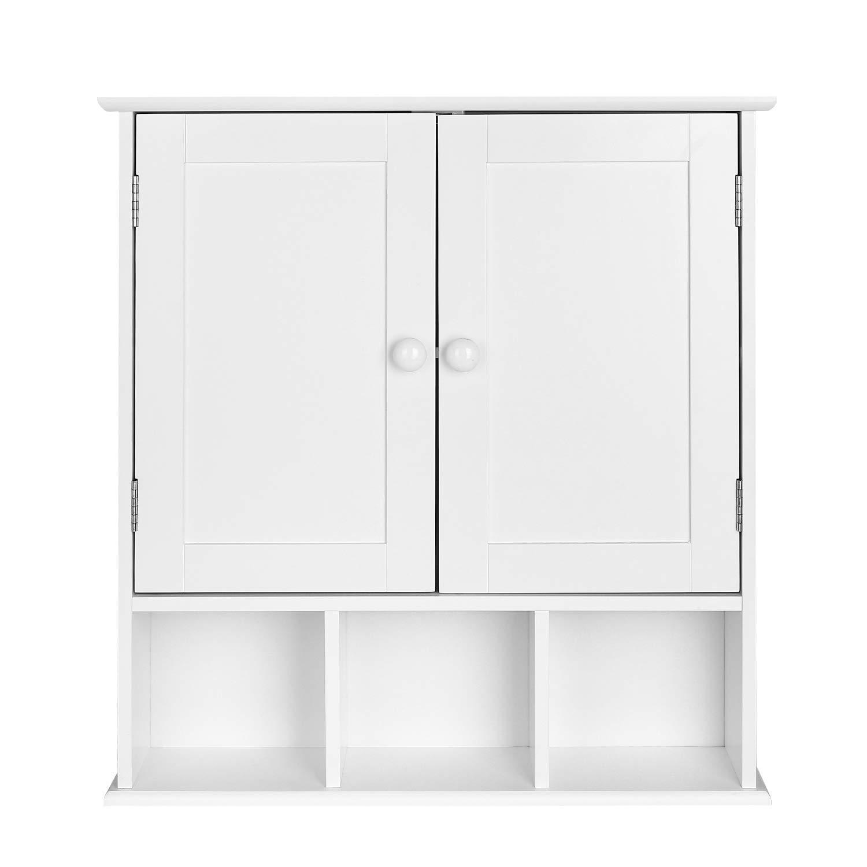 Homfa Armario de Pared Armario para Cocina Baño con 2 Puertas 5 Compartimentos Blanco 56x13x58cm product