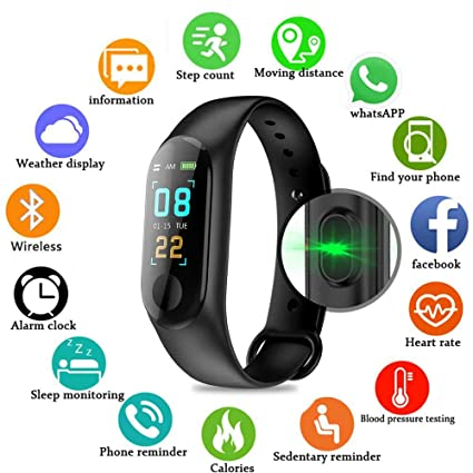 26e4e1485 Pulsera inteligente/rastreador de fitness, pantalla de color HD IP68  impermeable M3 Plus pulsera
