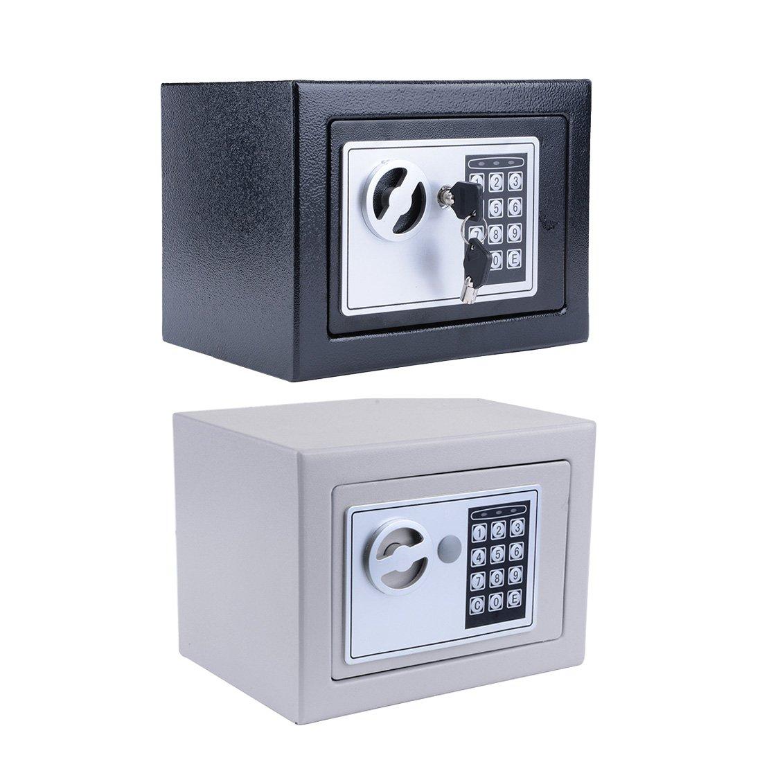デジタル電子安全セキュリティボックス耐火防水wall-anchoring Safe Deposit Box for MoneyジュエリーCash Batteries – 米国株式 B07F75W9TN Black + Sliver Grey Black + Sliver Grey