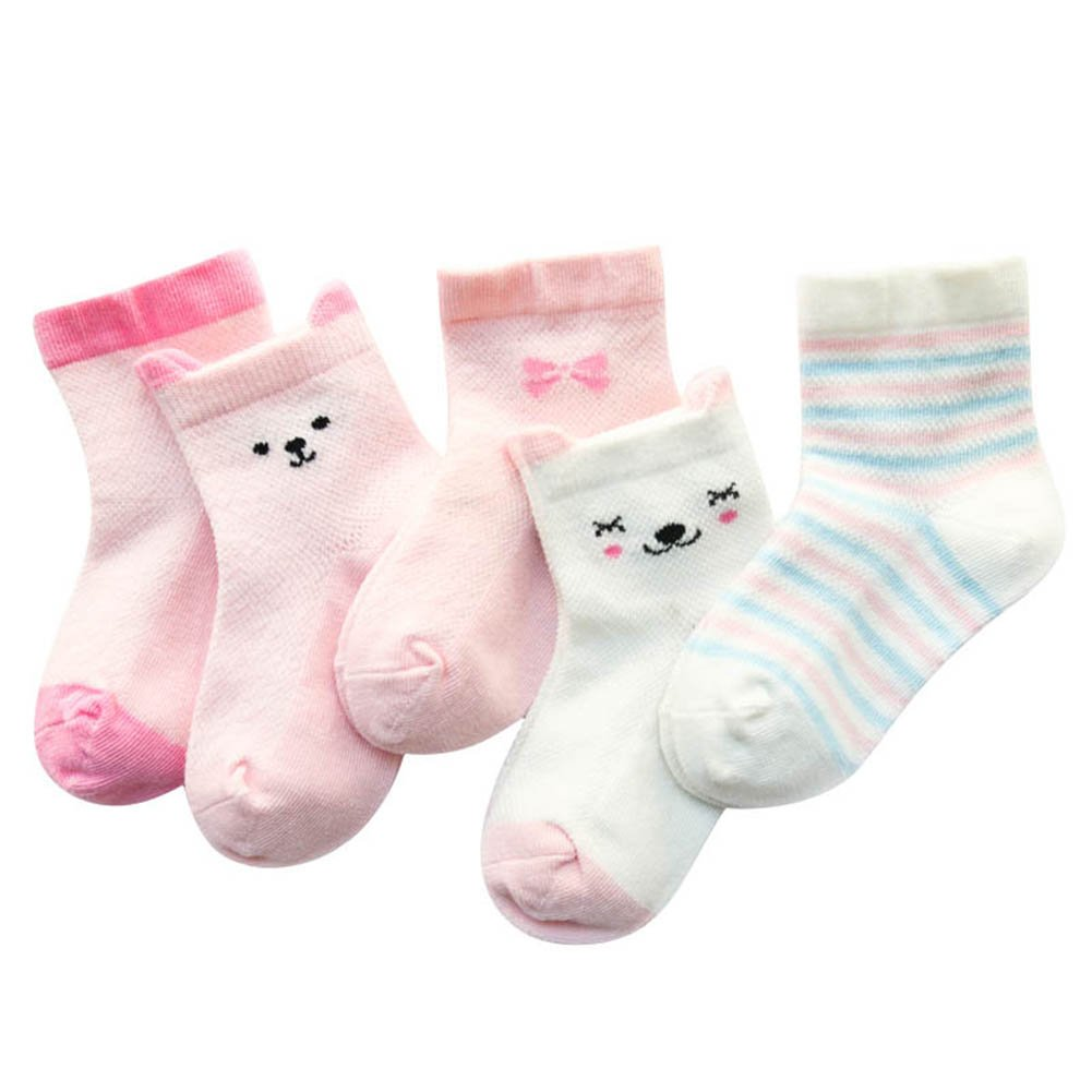 Weixinbuy Baby Boys Girls Cartoon Pattern Anti-slip Cotton Socks 5 Pairs 0-5T