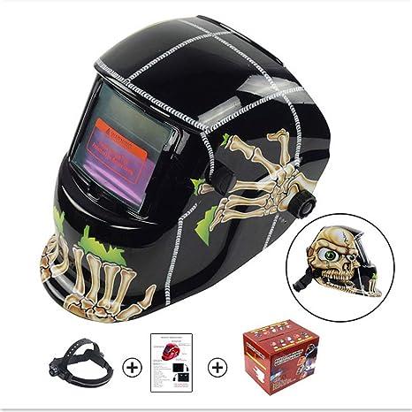 Casco soldador Personalidad Cráneos Diseño Solar Powered Welding Casco Oscurecimiento automático Campana profesional con lente amplia