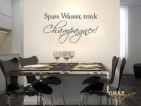 Adesivo da parete vinile adesivi per cucina Champagne Bevanda Spruch ...
