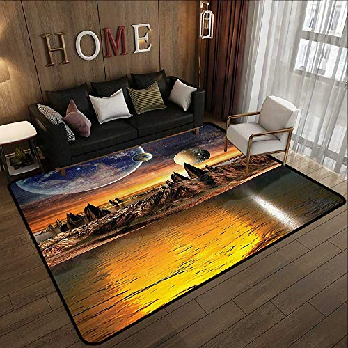 Brown Planet Earth - Contemporary Synthetic Rug,Galaxy,Fantasy Alien Planet with Earth and Moon View Rocky Surface and Lake Sci Fi Theme Galactic Art,Marigold and Brown 55