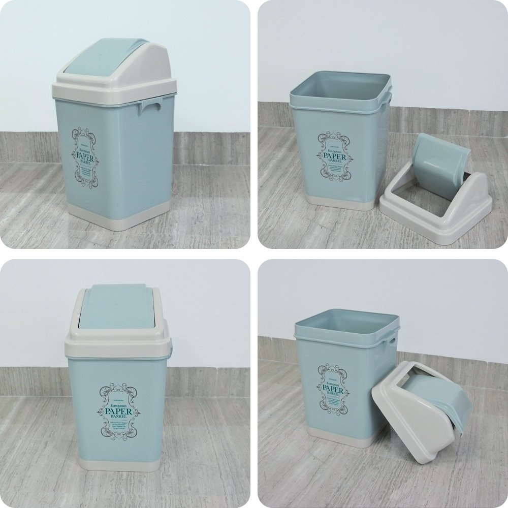 Amazon.com: Idomy Plastic Swing Top Trash Can, 3 gallon Bathroom ...