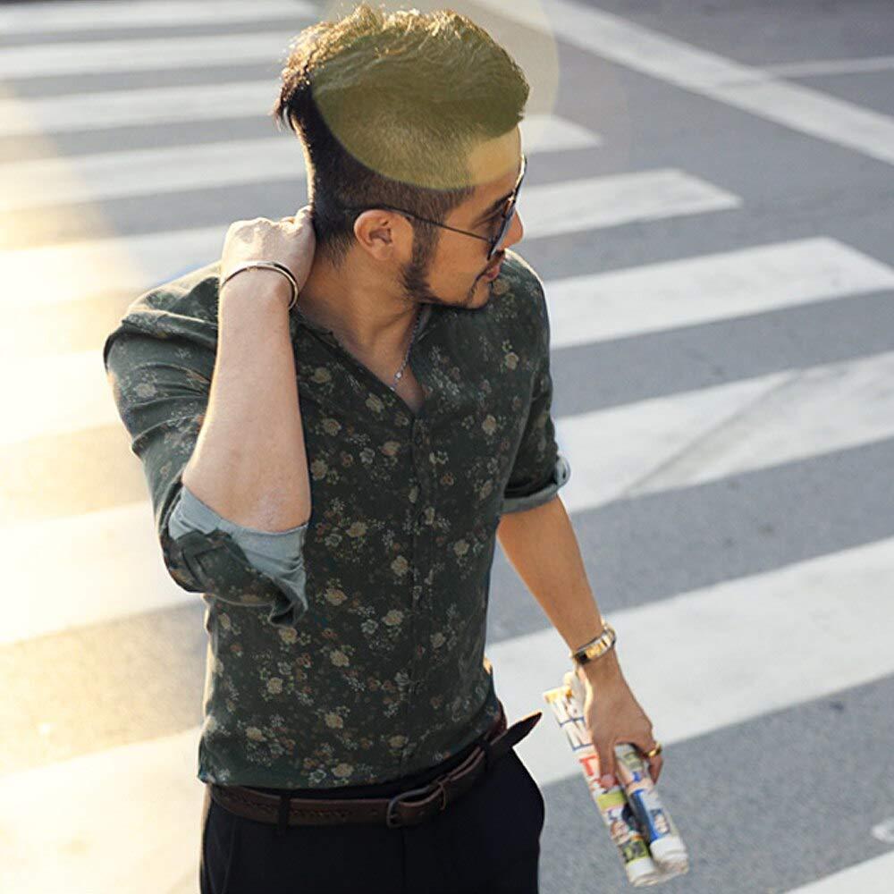 MIXLIMITED Mens Printing Flower Long Sleeve Shirt Mens Cotton Slim Button Down Dress Shirt Dark Green