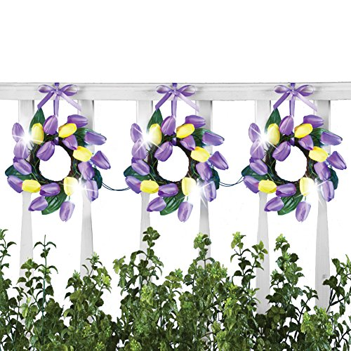 (Collections Etc Pre-Lit Purple and Yellow Tulip Wreaths Garland Decor, Battery Operated, 36