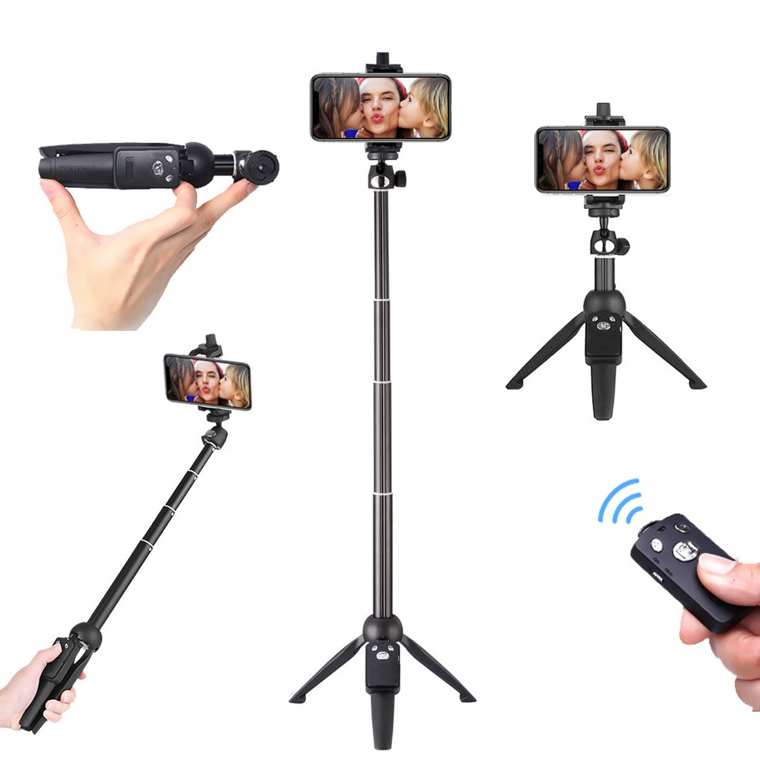 40 Inches Stable Cell Mobile Phone Selfie Tripod Stick, Photography Tripod Stand With Aluminum Alloy Telescope Rod Wireless Remote Control For Apple iPhone/Samsung/Sony/Google/LG/Motorola/IOS/Android