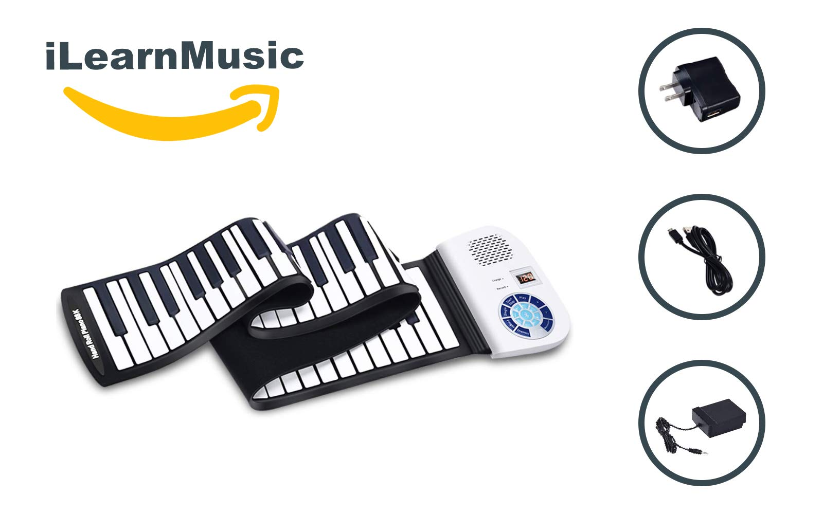 iLearnMusic Roll Up Piano, Premium Grade Silicone, Built-in Speakers - Educational Piano (61 Keys (F61)) by iLearnMusic (Image #2)