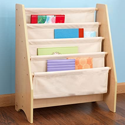 MD Group Sling Bookshelf Personalized Kids Bookcase Block Font Aqua Text Natural Wood Frame Furniture