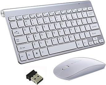 Teclado Inalámbrico y Mouse, EONANT Teclado 2.4G y Mouse Combo Set Ratón Ajustable Compacto de Tamaño Completo para DPI, Windows, Surface, Android ...