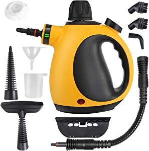 AFMAT Handheld Steam Cleaner, Portable Steam Cleaner Handheld 10 in 1 Set Multi-Function Multi-Purpose, and Chemical-Free, Multi-Surface All Natural, Anthracite, for Kitchen, Home -Yellow