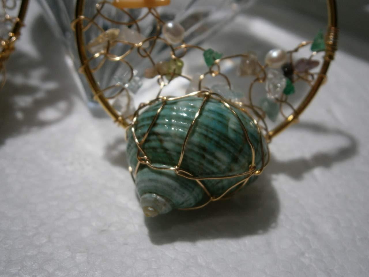 Crazy Ohrringe 60 Millimeter Creolen Muschel t/ürkis Perlen wei/ß Edelsteinmix pastell Strandschmuck Hippy