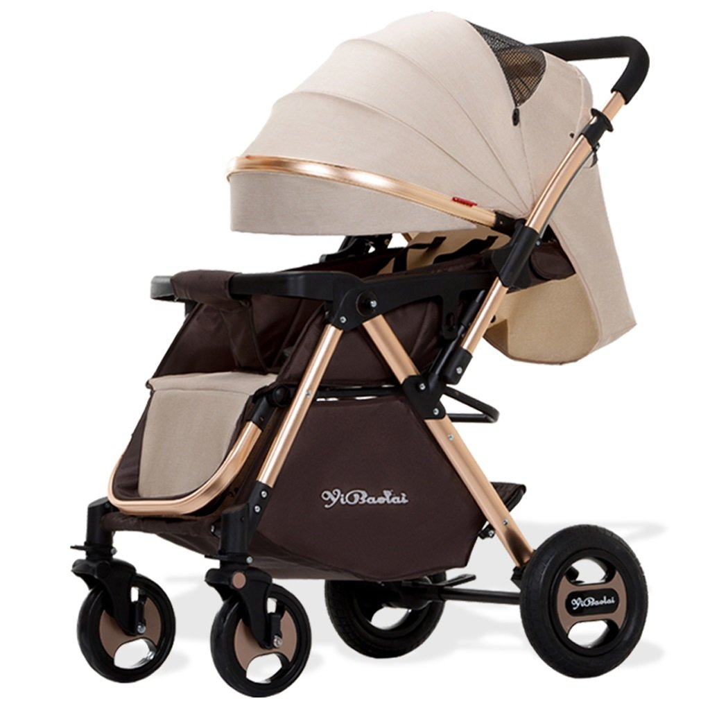 Baby Stroller Can Sitリクライニングポータブル折りたたみ赤ちゃん双方向赤ちゃんベビーカー(ブラック) (カーキ) 78 50 103 cm B07BFPCVPVカーキ