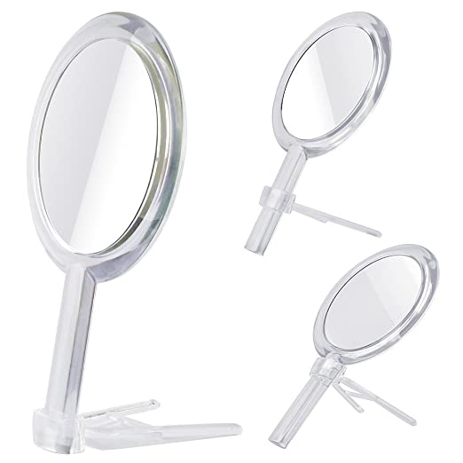 Gotofine Double Sided 1x - 7x Magnification Hand Held Makeup Mirror with Stand,clear (7x)