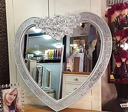 Premierinteriors Heart Shape Crackle Mosaic Glass Frame Wall Mirror Ornate Moroccan French Engraved Rose Silver 88x85cm Amazon Co Uk Kitchen Home